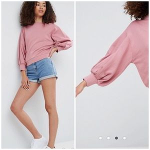 ASOS Mauve Balloon Sleeve Crew Crop Sweatshirt